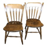 Image of 1980s Vintage Ethan Allen Early American Arrowback Side Chairs- A Pair For Sale