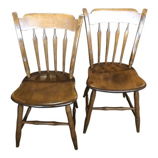 1980s Vintage Ethan Allen Early American Arrowback Side Chairs- A Pair For Sale