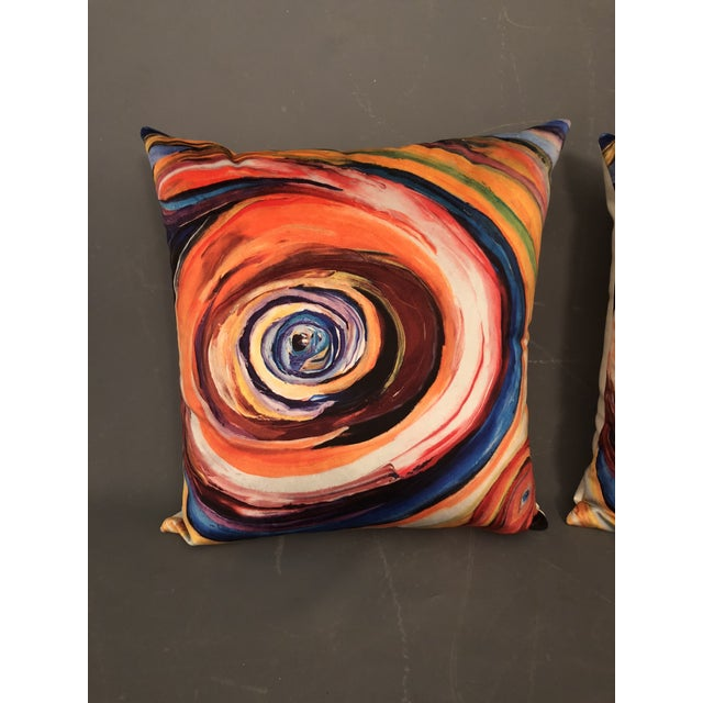 "Modern ""Bruce Mishell"" Modern Hand Made Abstract Art Print Pillows - a Pair For Sale - Image 3 of 6"