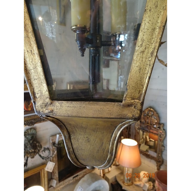 New French Iron Gold Lantern For Sale - Image 11 of 13