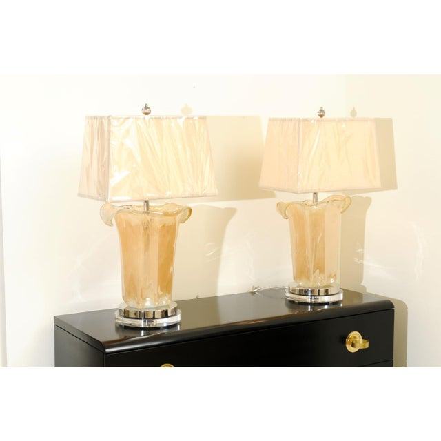 Mid-Century Modern Knockout Pair of Large-Scale Blown Murano Vases as Custom Lamps For Sale - Image 3 of 11