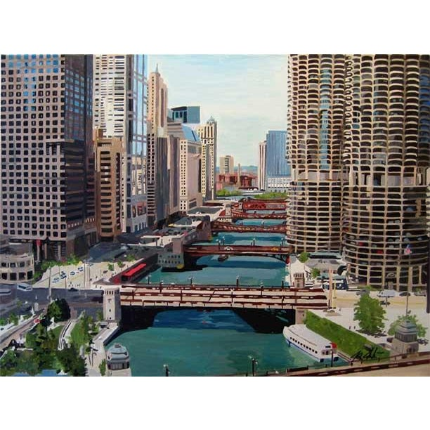 Contemporary Chicago River Bridges, Giclee Print For Sale - Image 3 of 3