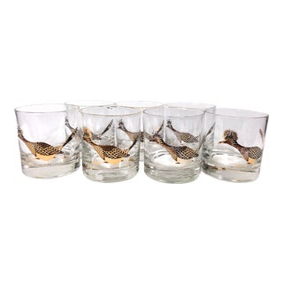 Vintage Roadrunner Lowball Glasses by Couroc - Set of 7 For Sale