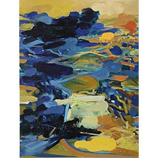Yuan Zuo Golden Valley Gold Blue Asian Landscape Abstract 2011 For Sale