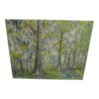 Vintage Impressionist Forest Painting