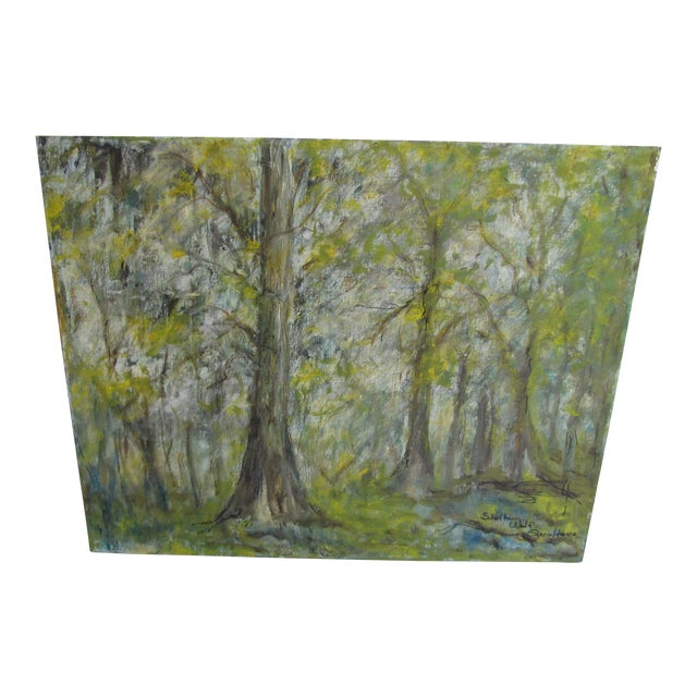 Vintage Impressionist Forest Painting For Sale