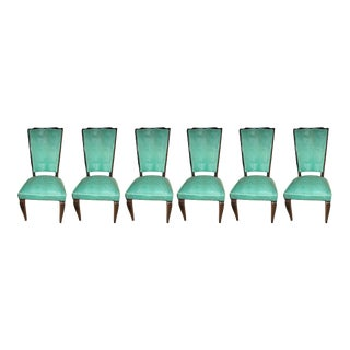 1940s French Refinished Tall Back Dining Chairs - Set of 6 For Sale