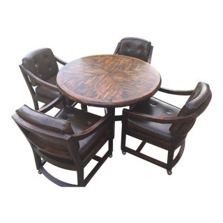 Solid Oak Game Table and Chairs For Sale