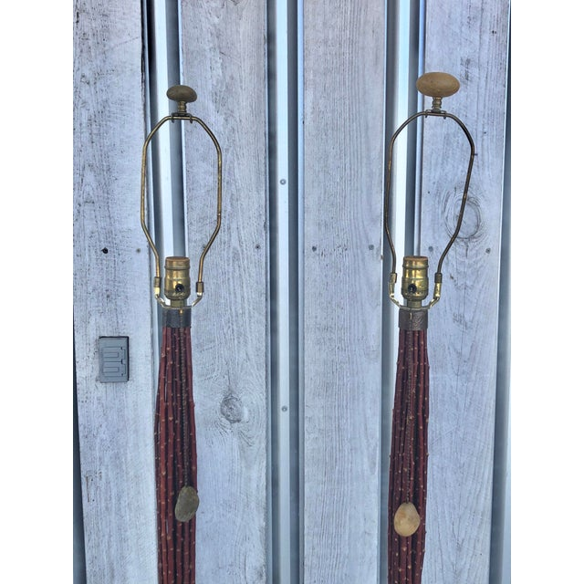 Pair of Hand Made Wood and Stone Floor Lamps For Sale - Image 4 of 5