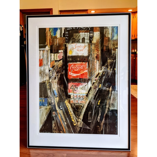 """1980s """"Times Square"""" Cityscape Lithograph, Framed For Sale - Image 12 of 12"""