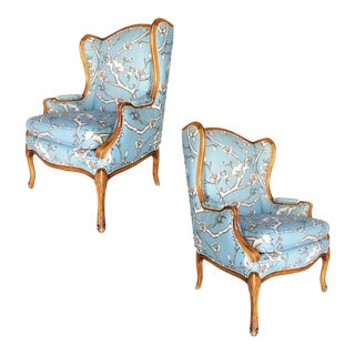 1950s Louis XV French Country Style Hand Carved Walnut Wing Back Chair, Pair For Sale