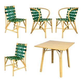 1970s Mid-Century Modern Sculptural Green Bamboo Dining Set – 5 Pieces For Sale