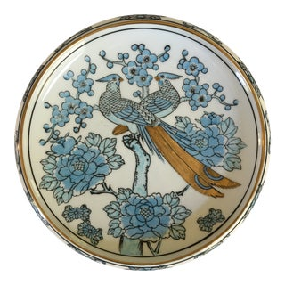 1970's Japanese Blue and Gold Imari Hand Painted Porcelain Peacock Bowl For Sale