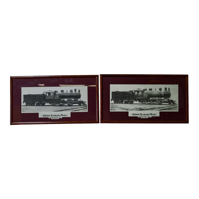 Baldwin Locomotive Works Pair of Vintage Framed Train Prints For Sale
