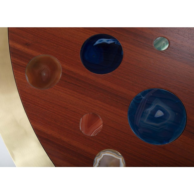 Early 21st Century Large Agate Inlaid Sapelle and Brass Coffee Table For Sale - Image 5 of 12