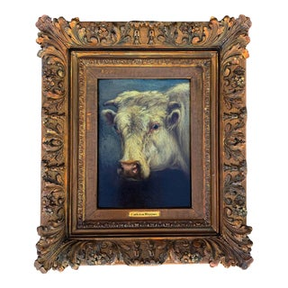 Portrait of a Cow by Carleton Wiggins (American, 1848-1932), Oil on Wood For Sale