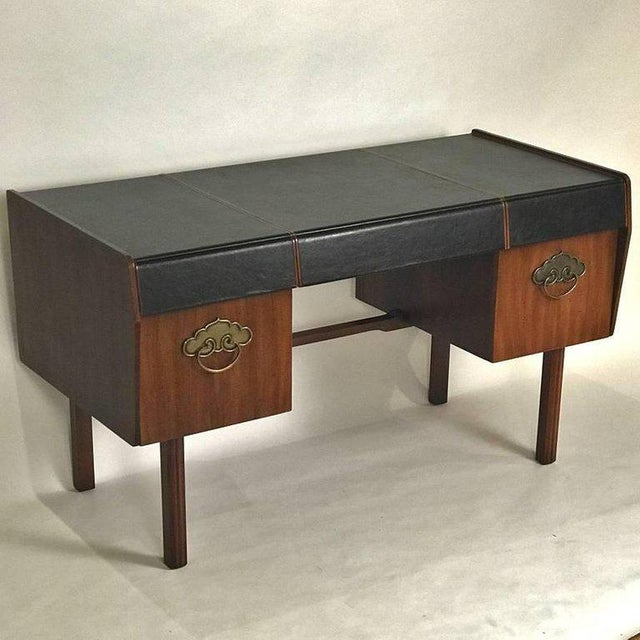 Bert England Bert England for John Widdicomb Leather Top Walnut Stilted Desk With Brass Pulls For Sale - Image 4 of 12