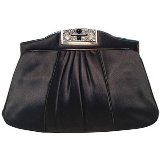 Judith Leiber Vintage Black Pleated Silk Clutch For Sale