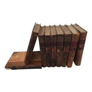 19th Century Elliot's Works Leather Books - Set of 9 For Sale