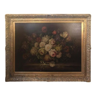 Classical Flower Vase Still Life Painting Oil on Canvas For Sale