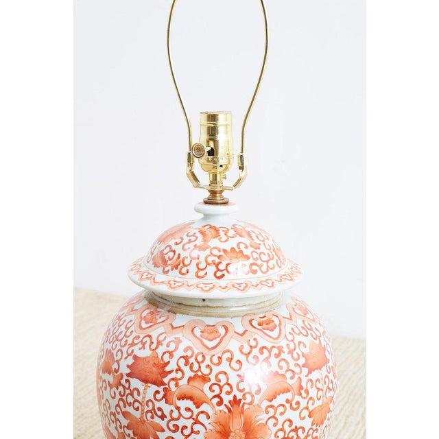 Orange Pair of Chinese Porcelain Floral Ginger Jar Lamps For Sale - Image 8 of 13