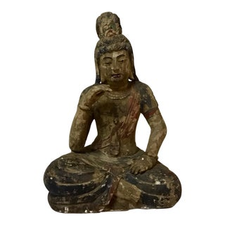 19th Century Figurative Carved Wood Buddha Statue For Sale