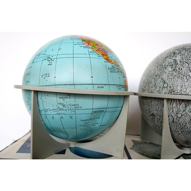 Blue Vintage Moon Celestial Earth Globes- Set of 3 For Sale - Image 8 of 11