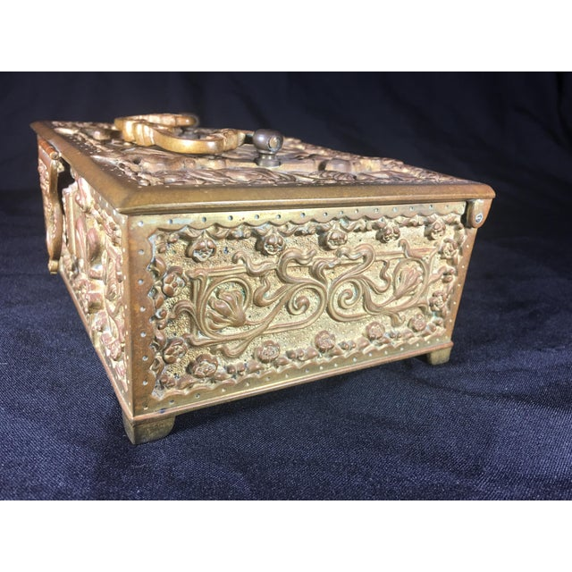 German Art Nouveau Bronze Box With Original Key For Sale - Image 5 of 10