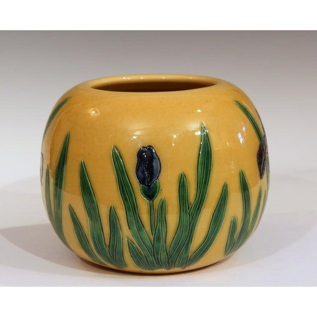Art Nouveau Large Tanabe-Awaji Pottery Japanese Incised Iris Signed Jardinière Bowl Vase For Sale - Image 3 of 9