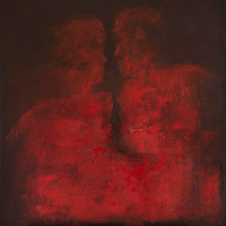 """""""The Argument"""" Contemporary Abstract Figurative Oil Painting on Canvas For Sale"""