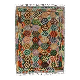 Afghan Kilim Handspun Wool Rug - 5′11″ × 6′11″ For Sale