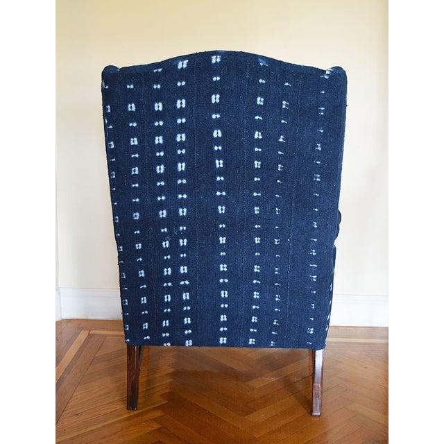 Indigo Mali Mudcloth Wingback Chair - Image 5 of 9