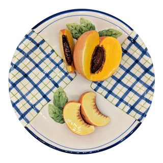 Bella Casa Trompe l'Oeil Blue and White Peach Fruit Plate For Sale