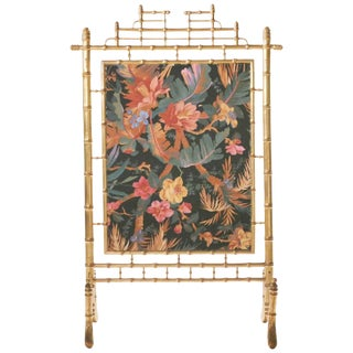 Faux Bamboo Decorative Fire Screen, 1970s For Sale