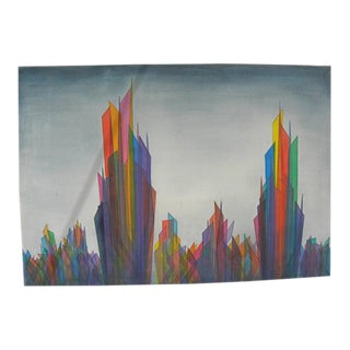 1980s NYC Skyline Original Signed Oil Painting For Sale