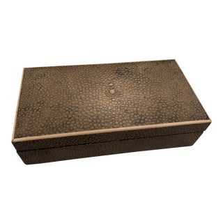 Asprey & Co. English Art Deco Green Shagreen Box For Sale