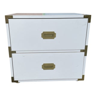 Vintage White High Gloss Campaign Nightstand For Sale