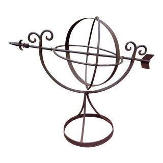 Large Vintage Wrought Iron Garden Armillary For Sale