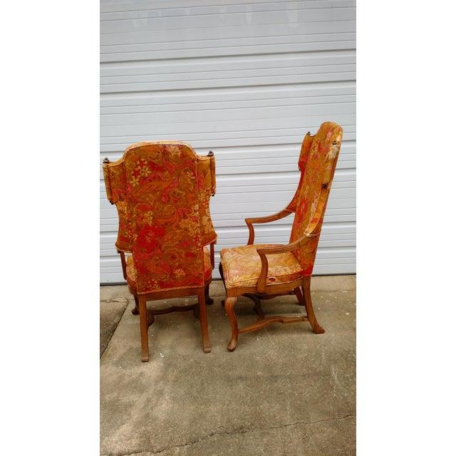 Jim Peed Esperanto Drexel Wingback Chairs - A Pair - Image 7 of 11