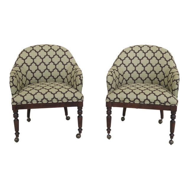 Modern Century Geometric Print Upholstered Club Chairs- A Pair For Sale