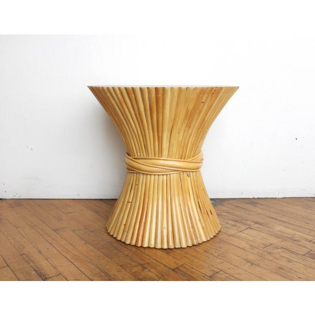 McGuire Wheat Sheaf Side Table- Rattan and Bamboo End Table For Sale - Image 5 of 6