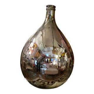 Mid Century Mercury Glass Bottle in Silver For Sale