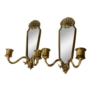 1930s French Gilt Bronze Mirrored Sconces - a Pair For Sale