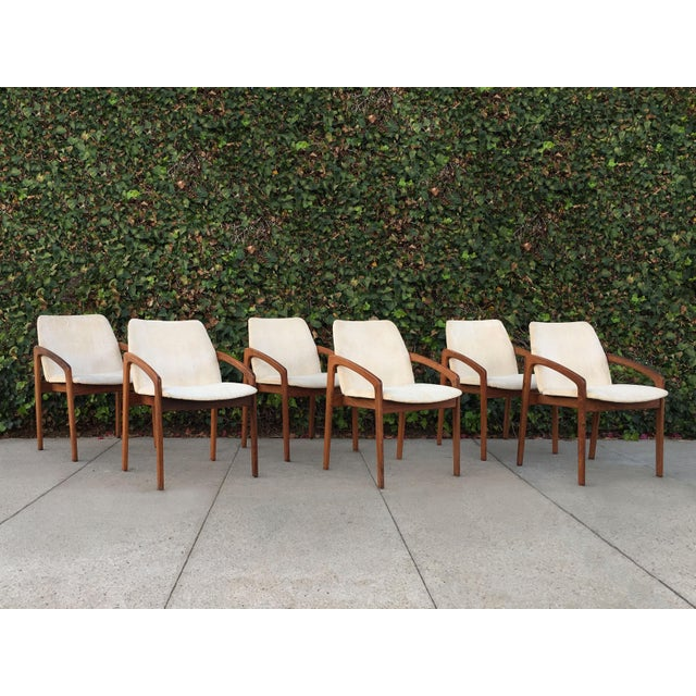 Fabric Kai Kristiansen for Korup Stolefabrik Mid-Century Modern Carver Rosewood Dining Chairs - Set of 6 For Sale - Image 7 of 7