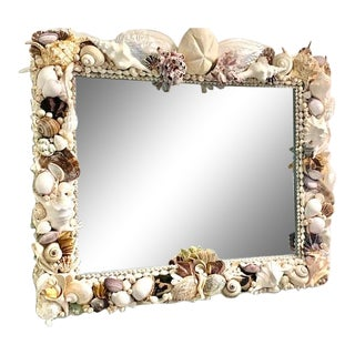 Beveled Rectangular Mirror With Shells For Sale