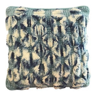 1960s Boho Chic Blue Hues Rya Pillow For Sale