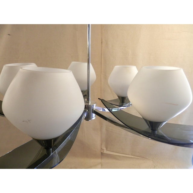 Mid-Century 5-Globe Tinted Lucite Chandelier For Sale In New York - Image 6 of 6