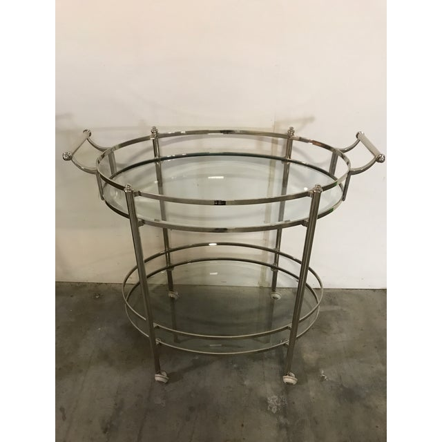 Traditional Polished Nickel Two Tier Bar Cart For Sale - Image 3 of 6