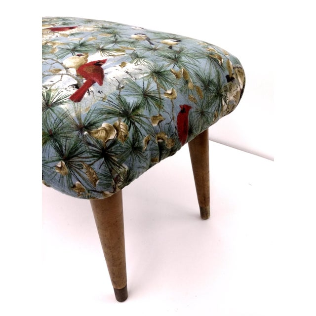 Mid-Century Cardinal Upholstered Stool - Image 4 of 11