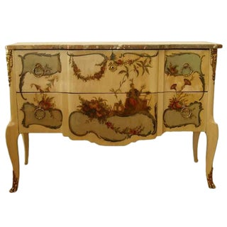 Early 20th Century French Marble Top Painted Commode For Sale